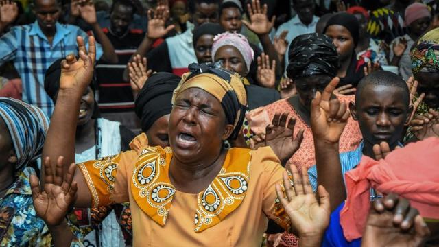 Des fidèles pendant une prière à Dar es Salaam, le 1er janvier 2020 [Ericky BONIPHACE / AFP]