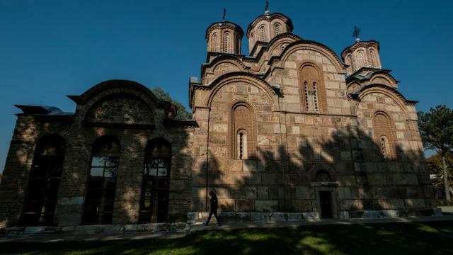 Le monastère de Gracanica, l'un des quatre sites de l'Eglise orthodoxe serbe classés au patrimoine mondial de l'humanité, le 7 novembre 2015 à Granica au Kosovo [ARMEND NIMANI / AFP]