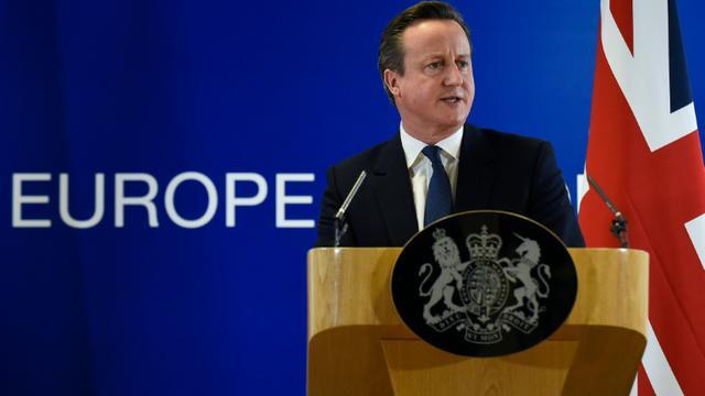 Le Premier ministre britannique David Cameron donne une conférence de presse le 19 février 2016 à Bruxelles, après avoir obtenu un accord avec les membres de l'UE sur les réformes qu'il a proposées [JOHN THYS / AFP]