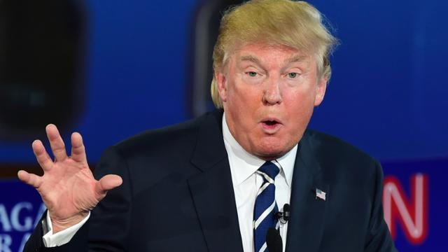 Donald Trump lors d'un débat télévisé entre les candidats à la primaire républicaine le 16 septembre 2015 à Simi Valley en Californie [FREDERIC J BROWN / AFP]