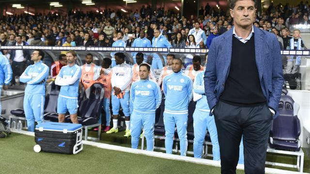 L'entraîneur de Marseille Michel (d) en L1 contre Toulouse au Stadium Municipal, le 23 septembre 2015 [Pascal Pavani / AFP/Archives]