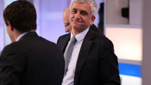 Hervé Morin (UDI), tête de liste de la droite et du centre en Normandie sur le plateau de France 2 le 6 décembre 2015 [CHARLY TRIBALLEAU / AFP]