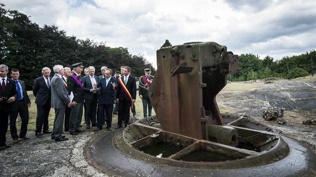 Cérémonie commémorant le 3 août 2014 à Fort de Loncin à Ans près de Liège en Belgique le début de la guerre de 14-18 [Nicolas Lambert / BELGA/AFP/Archives]