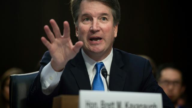 Le magistrat Brett Kavanaugh lors de sa récente audition au Sénat, où il revient jeudi pour répondre des accusations qui le visent [SAUL LOEB / AFP/Archives]