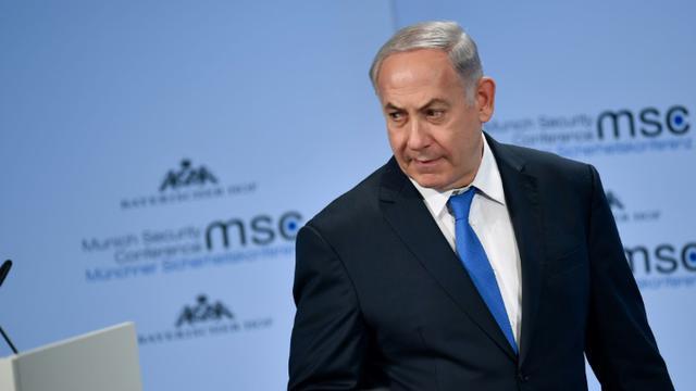 Le Premier ministre israélien Benjamin Netanyahou, à la Conférence sur la sécurité à Munich, dans le sud de l'Allemagne, le 18 février 2018 [Thomas KIENZLE / AFP]