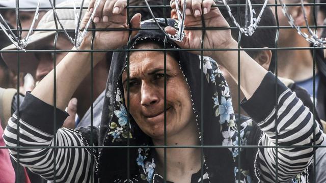 Une femme bloquée derrière la clôture de barbelés le 16 septembre 2015 à Horgos à la frontière entre la Hongrie et la Serbie  [ARMEND NIMANI / AFP]