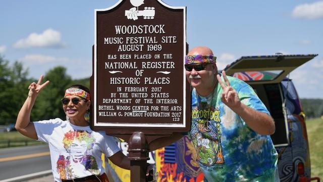 Le lieu du festival de Woodstock est devenu site historique et de nombreux pélerins s'y rendent pour revivre ou s'imaginer vivre l'évènement   [Angela Weiss / AFP]