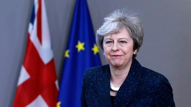 Theresa May quitte une réunion à Bruxelles le 7 février 2019. [Aris Oikonomou / AFP / Archives]