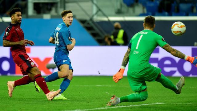 Le milieu du Zenit Saint- Pétersbourg Daler Kuzyaev  marque contre Bordeaux en Ligue Europa, le 25 octobre 2018 à Saint-Pétersbourg  [Olga MALTSEVA / AFP]