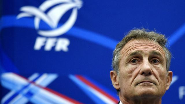 Guy Novès, nouveau sélectionneur du XV de France, en conférence de presse, le 13 novembre 2015 à Marcoussis [FRANCK FIFE / AFP/Archives]