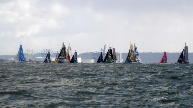 Les concurrents de la Transat Jacques Vabre, le 5 novembre 2017 au Havre [Damien MEYER / AFP]