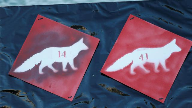 Logos de loup lors d'une manifestation contre l'abattage de ces bêtes, le 17 janvier 2016 à Nice [VALERY HACHE / AFP/Archives]