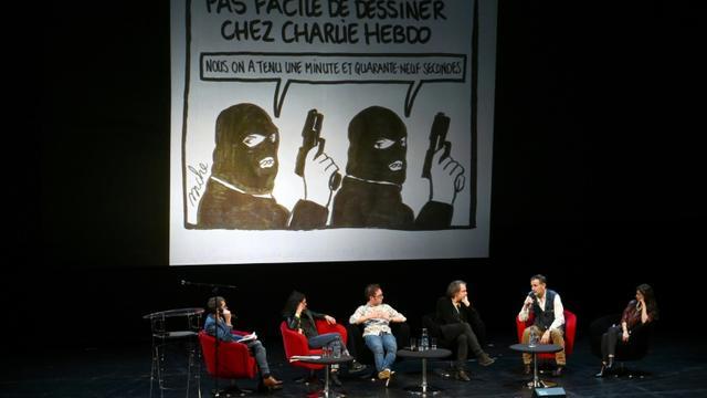 La rédaction de Charlie Hebdo à la rencontre de ses lecteurs et du public le 2 novembre 2019 à Strasbourg [PATRICK HERTZOG / AFP]