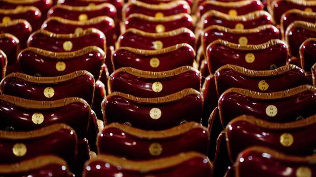 Les fauteuils d'une salle de cinéma à Paris.