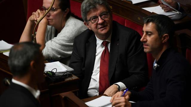 Le leader de La France Insoumise (LFI)Jean-Luc Mélenchon (G)participe à la manifestation mais pas le député LFI Francois Ruffin (D), à Paris, le 15 octobre 2019 [Christophe ARCHAMBAULT / AFP/Archives]
