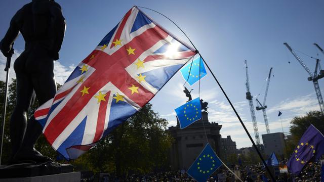 Des manifestants en faveur d'un second vote sur le Brexit, le 20 octobre 2018 à Londres [NIKLAS HALLE'N / AFP]