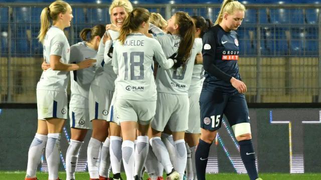 Les joueuses de Chelsea réagissent après avoir marqué un but en quart de finale aller de Ligue des champions, à Montpellier, le 21 mars 2018 [PASCAL GUYOT / AFP]