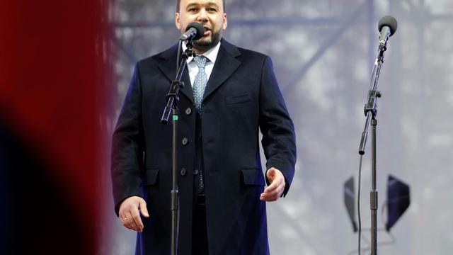 Denis Pushilin, chef de la république autoproclamée de Donetsk, en meeting électoral à Donetsk le 9 novembre 2018 [ALEKSEY FILIPPOV / AFP/Archives]