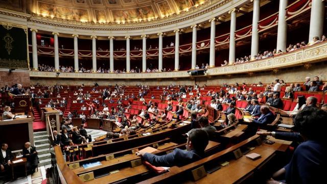 """L'Assemblée nationale était encore dimanche matin le théâtre d'un bras de fer entre la majorité et les oppositions autour de l'affaire Benalla, qui bloque tout débat sur la Constitution, mais certains ont choisi, à l'instar de l'UDI-Agir, de ne plus participer à ce """"triste spectacle"""" [Thomas SAMSON / AFP/Archives]"""