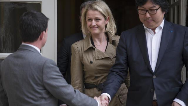 Manuel Valls, Barbara Pompili et Jean-Vincent Placé le 7 avril 2014 Matignon à Paris [Fred Dufour / AFP/Archives]