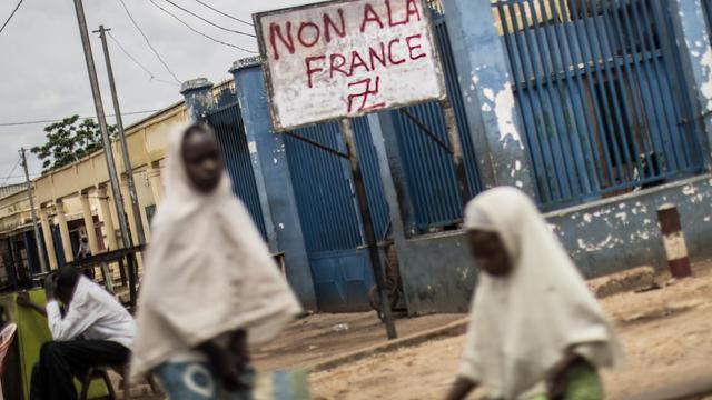 Photo d'archives d'un graffiti anti français à Bangui dans le quartier à dominante musulmane PK5, le 4 juin 2014 [Marco Longari / AFP/Archives]