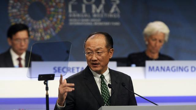 Le président de la Banque mondiale Jim Yong Kim, le 9 octobre 2015 à Lima [ERNESTO BENAVIDES / AFP]