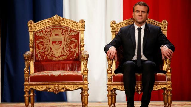 Le president Emmanuel Macron lors de la cérémonie officielle à la mairie de Paris, le 14 mai 2017 [CHARLES PLATIAU / POOL/AFP]