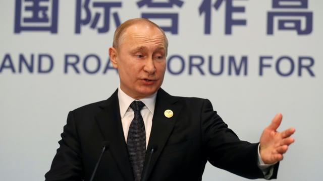 Le président russe Vladimir Poutine à une conférence de presse à Pékin le 27 avril 2019 [Sergei ILNITSKY / POOL/AFP]