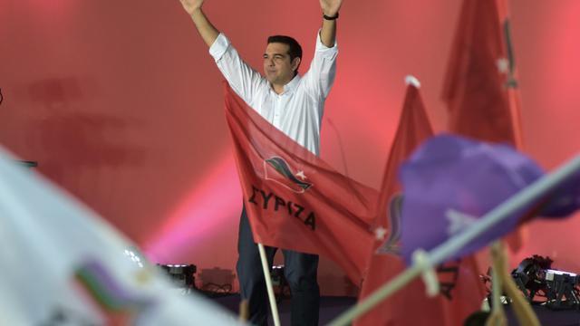 Alexis Tsipras, le 18 septembre 2015 à Athènes lors de son dernier meeting avant les élections législatives du 20 septembre [ARIS MESSINIS / AFP]