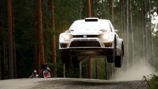 Le Finlandais Jari-Matti Latvala (VW Polo-R) lors du 4e et dernier jour du rallye WRC de Finlande à Jyvaskyla, dans le centre de la Finlande, le 3 août 2014 [Roni Rekomaa / LEHTIKUVA/AFP]