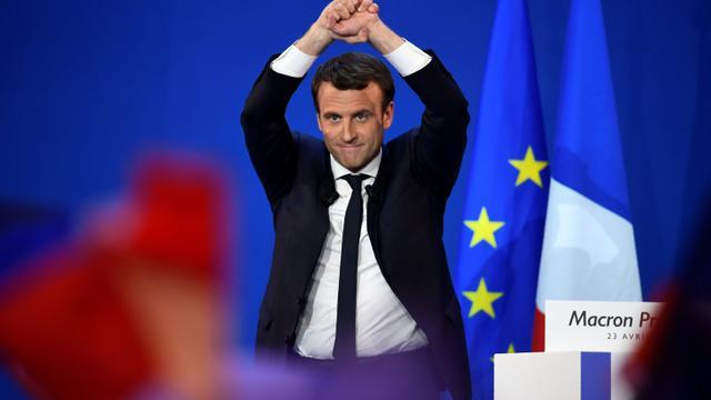 Emmanuel Macron, le 23 avril 2017 à Paris [Eric FEFERBERG / AFP]