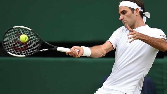Le Suisse Roger Federer, le 4 juillet 2018, à Wimbledon [Oli SCARFF / AFP]