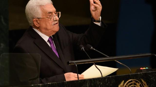 Le président palestinien Mahmoud Abbas à la tribune de l'ONU à New York, le 30 septembre 2015 [Don Emmert / AFP]