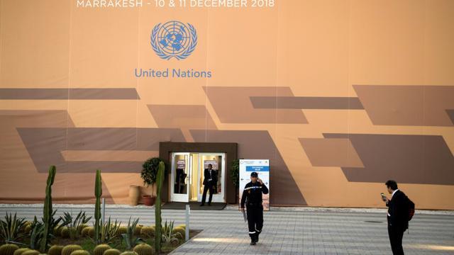 Photo prise le 9 décembre 2018 montrant le lieu où se tiendra la conférence de l'ONU sur les migrations, à Marrakech, au Maroc [FADEL SENNA / AFP]