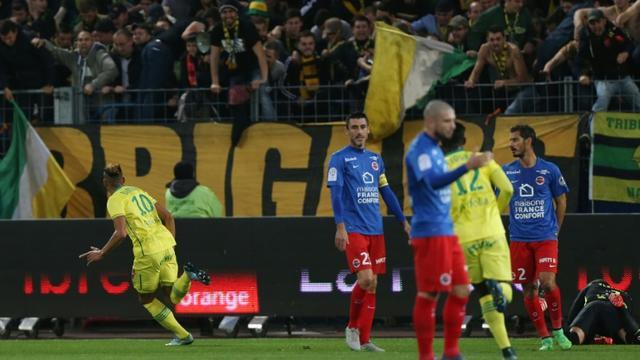 L'attaquant nantais Yacine Bammou a ouvert le score d'une lourde frappe contre Caen, le 23 octobre 2015 au stade Michel d'Ornano [CHARLY TRIBALLEAU / AFP]