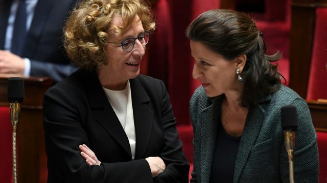 Muriel Pénicaud  et Agnès Buzyn (d) à l'Assemblée nationale en mars 2018. [ALAIN JOCARD / AFP/Archives]