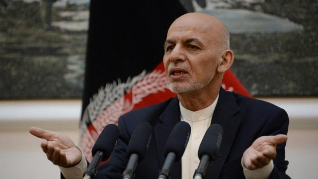 Le président afghan Ashraf Ghani lors d'une conférence de presse au palais présidentiel à Kaboul le 30 juin 2018 [NOORULLAH SHIRZADA / AFP/Archives]