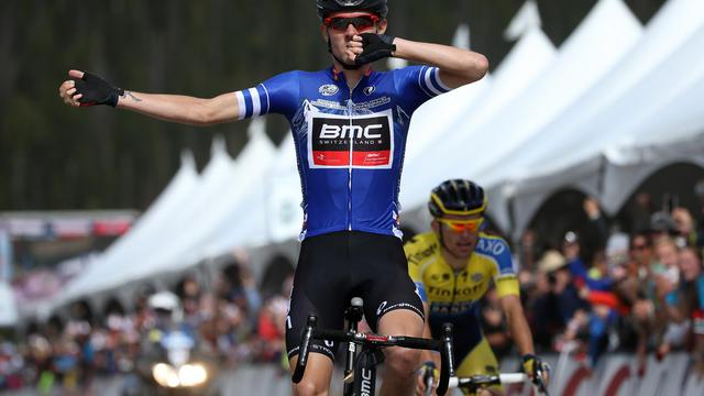 L'Américain Tejay Van Garderen remporte la 3e étape du Tour du Colorado le 20 août 2014 à Monarch Mountain [Chris Graythen / GETTY IMAGES NORTH AMERICA/AFP]