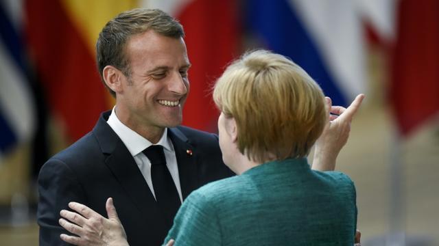 Emmanuel Macron et la chancelière allemande Angela Merkel, à Bruxelles le 28 juin 2018 [JOHN THYS          / AFP/Archives]