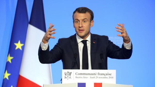 Le président Emmanuel Macron s'adresse à la communauté française, le 29 novembre 2018 à Buenos Aires, en Argentine [Ludovic MARIN / AFP]