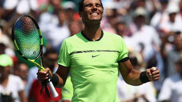 L'Espagnol Rafael Nadal se qualifie en finale du Masters 1000 de Miami en battant l'Italien Fabio Fognini, le 31 mars 2017 à Key Biscayne, en Floride [JULIAN FINNEY / Getty/AFP]