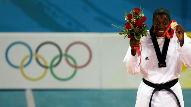 La Française Gwladys Epangue, médaillée de bronze en taekwondo aux JO de Pékin, le 22 août 2008 [BEHROUZ MEHRI / AFP/Archives]