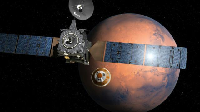 Image fournie par l'ESA le 1er mars 2016 d'un dessin d'artiste montrant ExoMars 2016 en route vers la planète rouge [D. Ducros / EUROPEAN SPACE AGENCY/AFP/Archives]