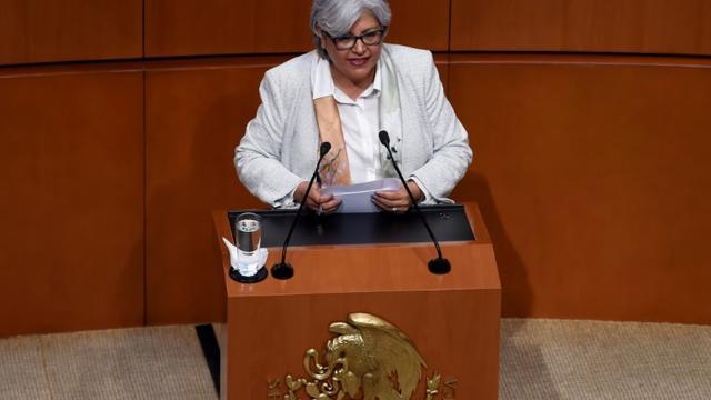 La secrétaire à l'Economie du Mexique Graciela Marquez Colin s'exprime devant le Sénat mexicain le 14 juin 2019 à Mexico City [ALFREDO ESTRELLA / AFP/Archives]