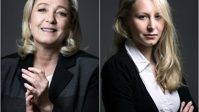 Un montage photo du 9 décembre 2015 montre les deux candidates aux régionales du FN, Marine Le Pen et Marion Marechal-Le Pen  [JOEL SAGET / AFP]