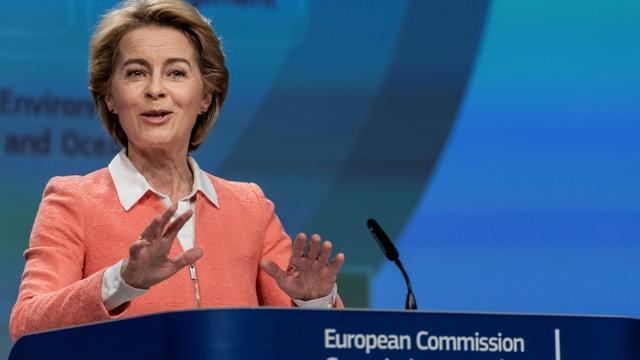 La nouvelle présidente de la Commission européenne Ursula von der Leyen annonce les noms des commissaires européens à Bruxelles le 10 septembre 2019 [Kenzo TRIBOUILLARD / AFP]
