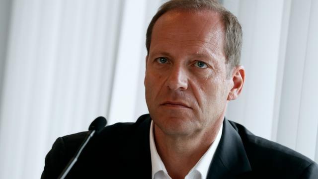 Le directeur du Tour de France Christian Prudhomme en conférence de presse, le 27 juin 2016 à Paris [Thomas SAMSON / AFP/Archives]