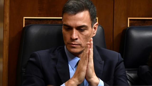 Le Premier ministre espagnol Pedro Sanchez, lors du débat au Parlement sur le budget du gouvernement, à Madrid le 13 février 2019 [PIERRE-PHILIPPE MARCOU / AFP]