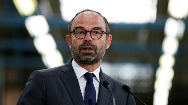 Le Premier ministre Édouard Philippe lors de sa visite de l'usine Seb de Mayenne (ouest) le 23 avril 2018 [CHARLY TRIBALLEAU / AFP]