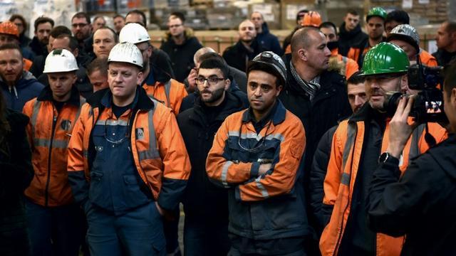 Les salariés d'Ascoval, le 19 décembre 2018, àSaint-Saulve [FRANCOIS LO PRESTI / AFP/Archives]